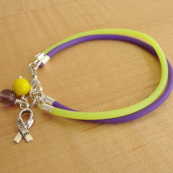 Purple and Yellow Awareness Bracelet - Rubber