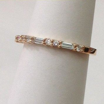 Luxinelle Straight Wedding Band of Baguette and Round VS Diamonds - 14K Thin Wedding Band by Luxinelle® Jewelry