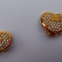 LANVIN Vintage Heart Shape Gold Tone Clip on Earrings with Crystals.