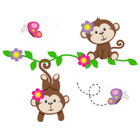 Safari Nursery Decor Hanging Monkey Decals Girl Wall Art Mural [1042] - $20.00 : DeCamp Studios, The best selection of nursery wall murals, childrens wallpaper border, teen girl or boy wall art decals, baby premade scrapbook pages, and digital printable cl
