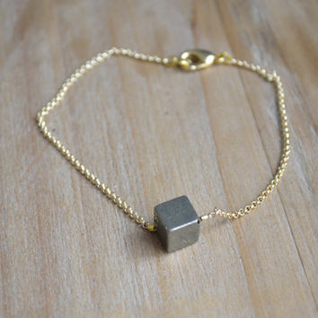 gold pyrite bracelet // all that glitters