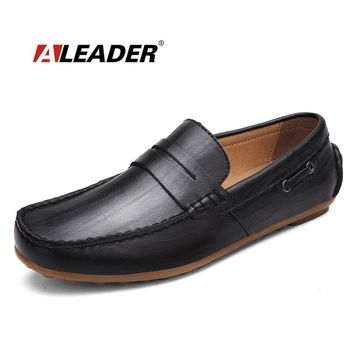 2016 Genuine Leather Mens Loafers Spring Autumn Hand Made Loafers Slip on Flats for Casual Driving Men Shoes chaussure homme