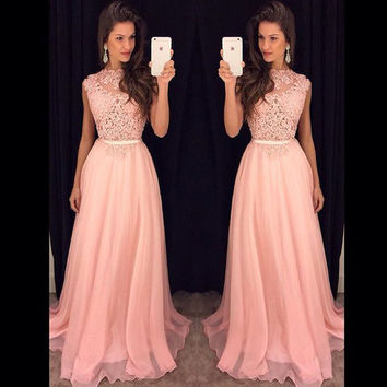 Don's Bridal 2016 New Arrival O-Neck Ombre Sleeveless Dresses Unique Vestidos De Gala Pink Prom Dress
