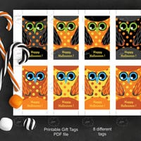 Halloween Owl Tag, editable text tag, printable gift tag, black orange, polka dot owl, rectangular hang tag, edit text by yourself