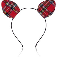 River Island Womens Red plaid kitten ears head band