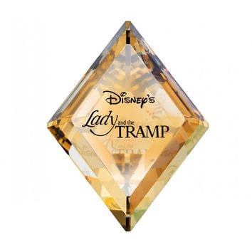 Swarovski Colored Crystal Figurine Title Plaque LADY & The TRAMP #1096771 New