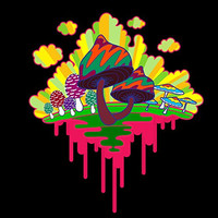 'Drippy Mushrooms' Funny Hippy Shroom Dripping Design Artwork - Vinyl Sticker