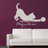 Cat Wall Decals Quote Play With Me Kitten Vinyl Sticker Pet Pets Shop Animals Decal Interior Mural Kids Boy Girl Nursery Room Decor KG882