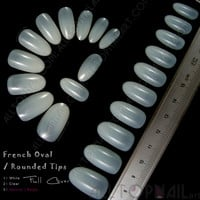 French Oval / Rounded Acrylic Artificial False Nail Tips 100x Natural/Beige Full Cover Fake Nail Art Tips  -Free Shipping