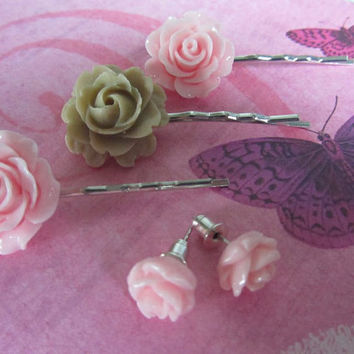 Pink and mink flower booby pins ans matching earrings very girlie shabby chic flower hair clips and earrings Wedding hair Bridal accessories