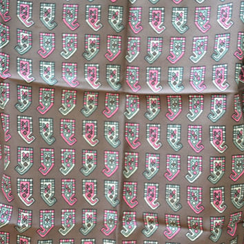 Brown Scarf, Vintage Scarf, Scarf, Scarves, Pattern Scarf, Patterned Scarf, Brown and Pink Scarf, Acetate Scarf, Square Scarf,Abstract Scarf