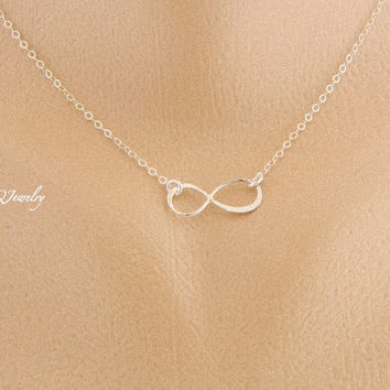 Infinity Necklace Eternity Necklace Love Sterling by MyQjewelry