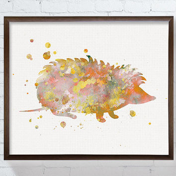 Hedgehog Watercolor Art, Hedgehog Art Print, Hedgehog Painting, Woodland Nursery Art, Nursery Wall Decor, Watercolor Animal, Gift Idea