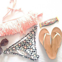 New Arrival Summer Beach Swimsuit Hot Sexy Ladies Tassels Print Swimwear Bikini [4914833668]