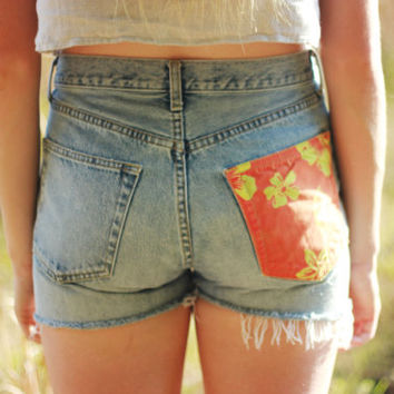 High Waisted Denim Shorts Vintage Gap Shorts Distressed Ripped Jean Shorts