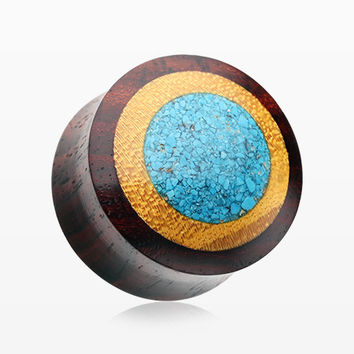 A Pair of Turquoise Crushed Multi Layer Wood Ear Plug