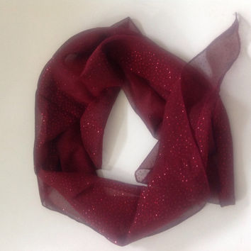 Clearance Sale! 3.00 Maroon burgundy red chiffon bandana scarf with glitter polka dots half scarf red kerchief