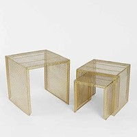 Nested Caged Metal Side Table- Gold One