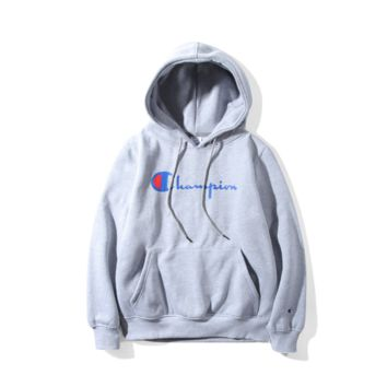 Champion couple sets the head sweater couple models Plus velvet hooded sweater simple printing class service Gray