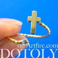 Adjustable Cross Shaped Wrap Around Ring in Gold with Rhinestones