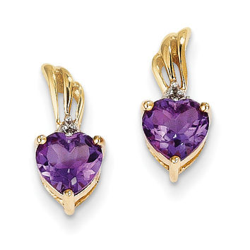 14k Diamond & Amethyst Heart Post Earrings XE2570AM/AA