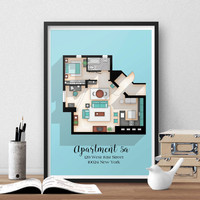 Seinfeld Poster - Seinfeld TV Show Apartment Floor Plan- Seinfeld TV Show Layout- Apartment of Jerry Seinfeld- Gift for Seinfeld Fan