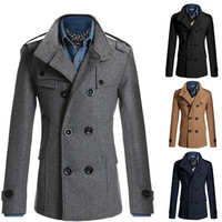 Men Slim Fit Double Breasted Peacoat