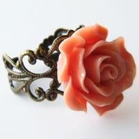 Cocktail Ring , Rose Ring , Rose Statement Ring , Bridesmaid Ring , Vintage Look Filigree Ring