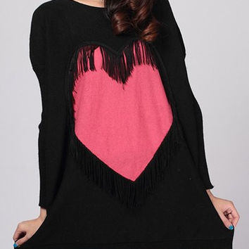 Black Fringed Heart Pattern Long Sleeve Sweater