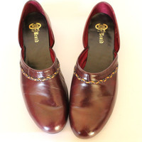 60s mens slippers. Braid by Evans Boyears. Oxblood burgundy slip on shoes. Braid. Size 12 1/2. Valentines gift for him. Mad Men.