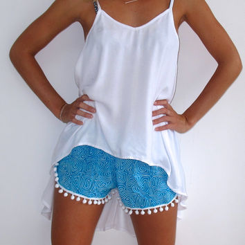 Pom Pom Shorts - Aqua and White Zombie Print with Large White Pom Pom's- Beach Shorts