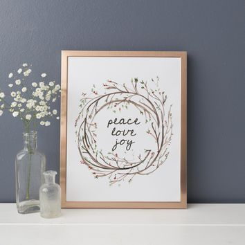 Peace Love Joy Wreath Wall Art Print
