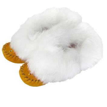 Junior Soft-Sole Suede Moccasins with Rabbit Fur