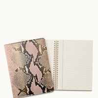 "9"" Wire-O-Notebook In Pink Embossed Python Leather by Gigi New York"