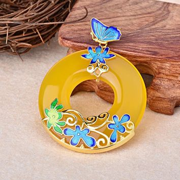 Cloisonne Flowers Yellow Natural Chalcedony 925 Circle Pendant