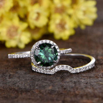 7mm round cut natural green tourmaline engagement ring set,14k white gold diamond wedding band,2pcs bridal rings,curved diamond wedding band