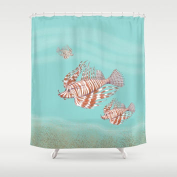 Lion Fish Shower Curtain - Lionfish, underwater, ocean, reef, blue water, aqua, swimming, island, Carribbean shower, bathroom, coastal decor
