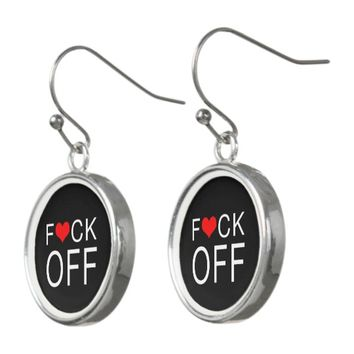 F Heart CK Off Black Earrings