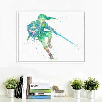 Original Watercolor Zelda Japanese Game Poster Print A4 Abstract Picture Kids Ro