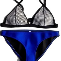 FLORAVOGUE Women Neoprene Bikini Mesh Triangle Set Bathing Suits Blue X-large