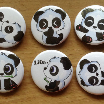 Cute panda set button pin