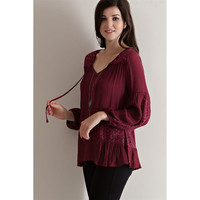 Peasant w/Lace Dtl Top. Burgundy (Size S)
