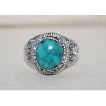 Adjustable 925 Sterling Silver Ring Turquoise Ring Boho Ring