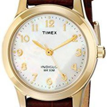Timex Women's Watch T21693 Elevated Classics Dress Burgundy Leather Strap Watch