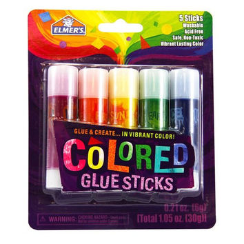 Elmer's 0.21-Ounces Washable Non-Toxic Colored Glue Sticks, 5 Vibrant Colored (E129)