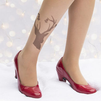 Special Christmas tights - deer tattoo tights / Santa Claus's reindeer / Santa Claus's sleigh / Christmas holiday /  jolly  /merry Christmas