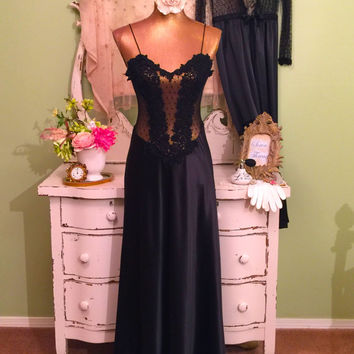 Romantic Sheer Nighty Set, Polka Dot Peignoir, Bridal Lingerie, Elegant Satin Nightgown Set, Hollywood Glam, Black Wedding Nightwear, Medium