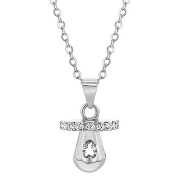 925 Sterling Silver Pacifier Charm New Mom Cubic Zirconia Necklace for Women 19""