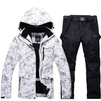 -30 Men/woman white Snow suit sets outdoor skiing suit sets snowboarding clothes waterproof winter costumes jackets +bibs pant
