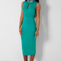 Dazzle Green Embellished Mesh Bodycon Midi Dress | Pink Boutique